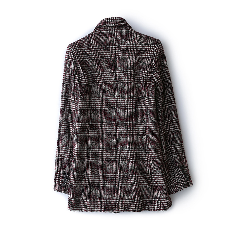Frauen Plaid Blazer Britischen stil herbst lose plaid jacke verdickung kaschmir temperament retro woolen kleine anzug weibliche - 2