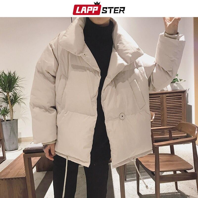 LAPPSTER Men Colors Bubble Coat Winter Jacket 2019 Mens Solid Harajuku Korean Parka Windbreaker Couple Puffer Jacket Thick