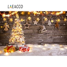 Laeacco Merry Christmas Festivals Tree Snow Polka Dots Star Gift Party Baby Toys Portrait Photo Backgrounds Photography Backdrop