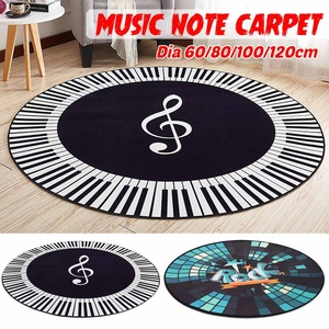 New Carpet Music Symbol Piano Keys Black White Round Carpet Anti Slip Rugs Home Bedroom Foot Pads Floor Decoration 4 sizes