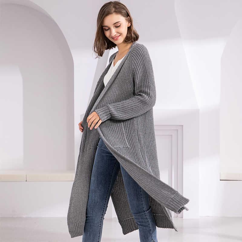 Colorfaith Novo 2019 Blusas das Mulheres do Outono Inverno Coreano Estilo Minimalista Sólidos Multi Cores Casual Longo Cardigan Tops SW8528