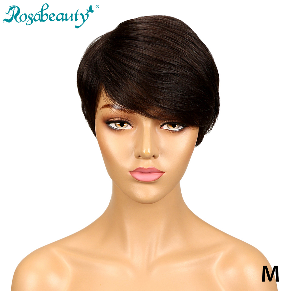 Rosabeauty Hair Dark Brown Straight Hair Short Wig Machine Made Brazilian Human Hair Wigs For Black Women Color #2 Free Shipping