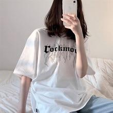 Camiseta feminina harajuku casual unisex oversized camiseta punk gótico hiphop camisetas femininas com manga curta streetwear topos t