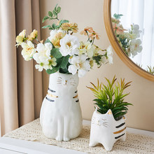 cute Japanese Ceramic Cat Flowerpot Creative Vase Animal Sculpture Plant Pots Decorative Ceramic Pots for Plants Office Decor