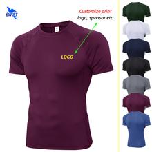 Dostosuj druk męskie koszulki do biegania szybka kompresja na sucho sportowa koszula Fitness Gym koszulki piłkarskie elastyczna odzież sportowa koszulki tanie tanio KHADGAR summer Poliester Pasuje prawda na wymiar weź swój normalny rozmiar Customize Print Men s Running T-Shirts EU size S-XXL