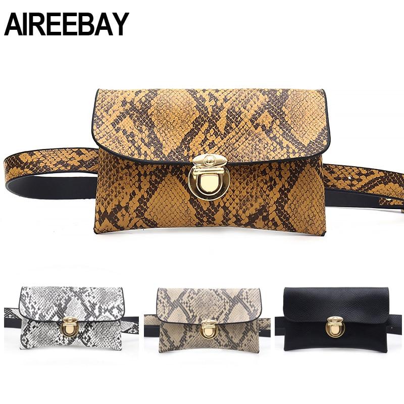 AIREEBAY Women Belt Bag Brand Design Serpentine Pattern Waist Bag Female Fanny Pack Leather Belts Envelope Phone Bags For Ladies