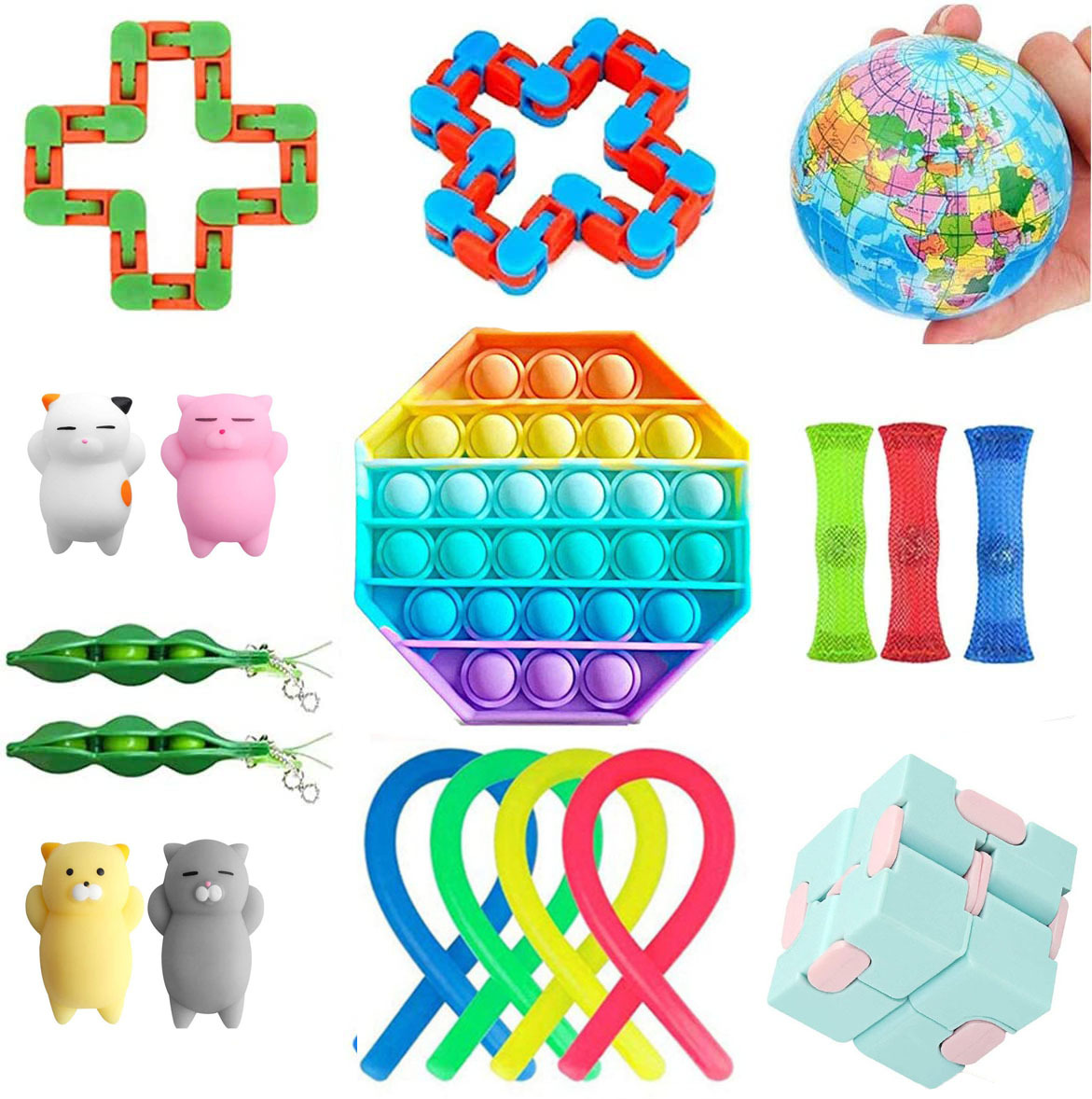 New Venting and Decompression Toy Combination A Set of Anti-push Bubble Pressure Fidget Toy Bag Childrens Educational Game Toy