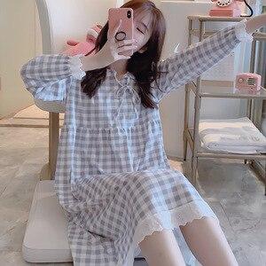 Image 3 - Женское клетчатое платье на шнуровке, винтажная Ночная рубашка большого размера с кружевом в стиле принцессы, осень 2019