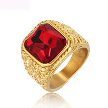 Luxury Red Crystal Finger Rings Titanium Steel Casting For Jewelry Anniversary Party Gifts Free Shipping