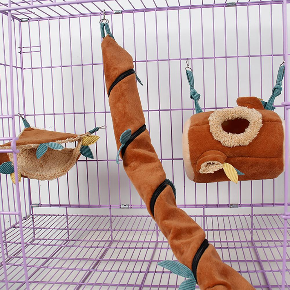 Set Of 3 Short Plush Hamster Bed&Toy Accessories For Winter,Hanging Bed,Hammock,Tunnel In Cages For Rodents ,Sugar Glider Guinea