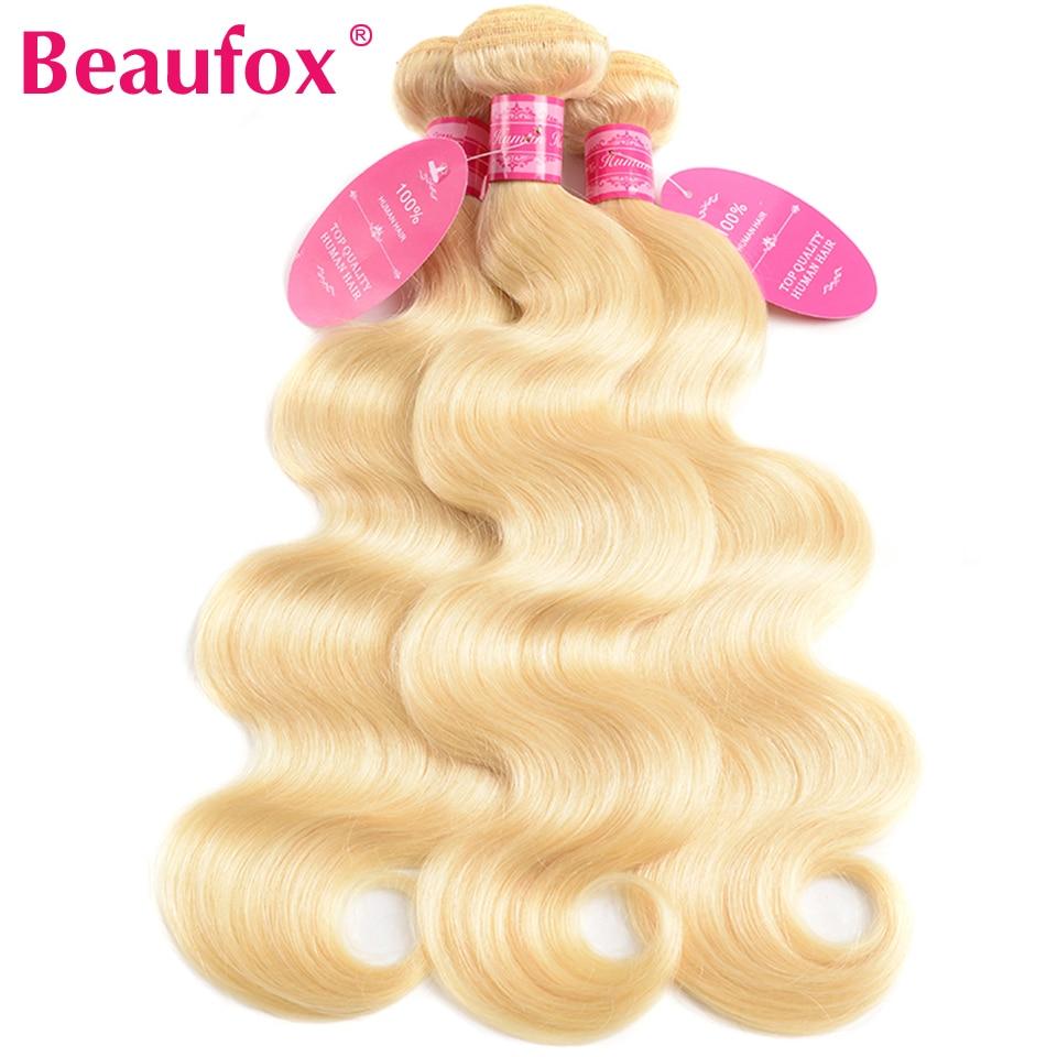 H91ef4b14ab4b48e2ad57898168c80703M Beaufox 613 Blonde Bundles With Closure Brazilian Body Wave 3 Bundles With Closure Blonde Human Hair Bundles With Closure Remy