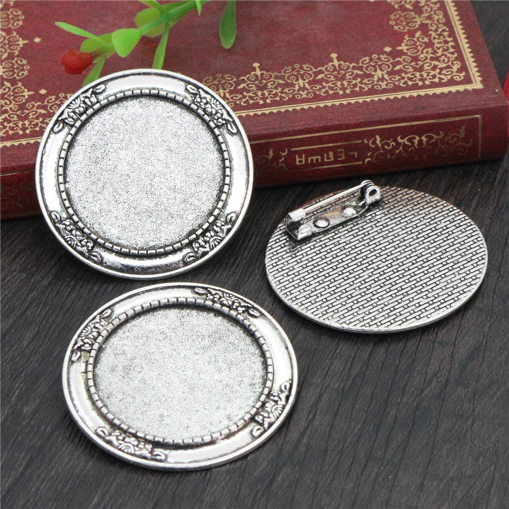 2pcs 30mm Inner Size Antique Silver Plated Brooch Pin Cabochon Base Setting (B6-14)
