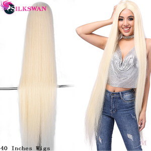 SilkSwan włosów brazylijski peruka na koronce 613 blond proste włosy niepoddawane zabiegom peruki dla peruki damskie ludzkie włosy przejrzyste koronki 40 Cal
