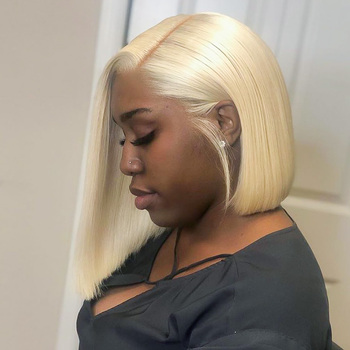 Blonde 613 Straight Lace Front Human Hair Wigs Short Bob Wig Brazilian For Black Women pre plucked 13x1 6inch Frontal Honey Wig image