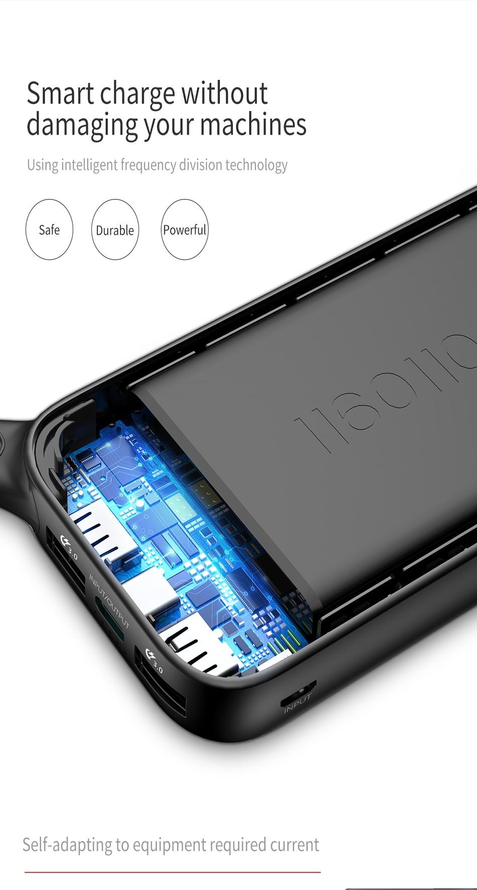 Baseus 20000mAh Quick Charge 3.0 Power Bank For Xiaomi Mi 000 mAh USB C PD Fast Portable External Battery Charger Powerbank 9
