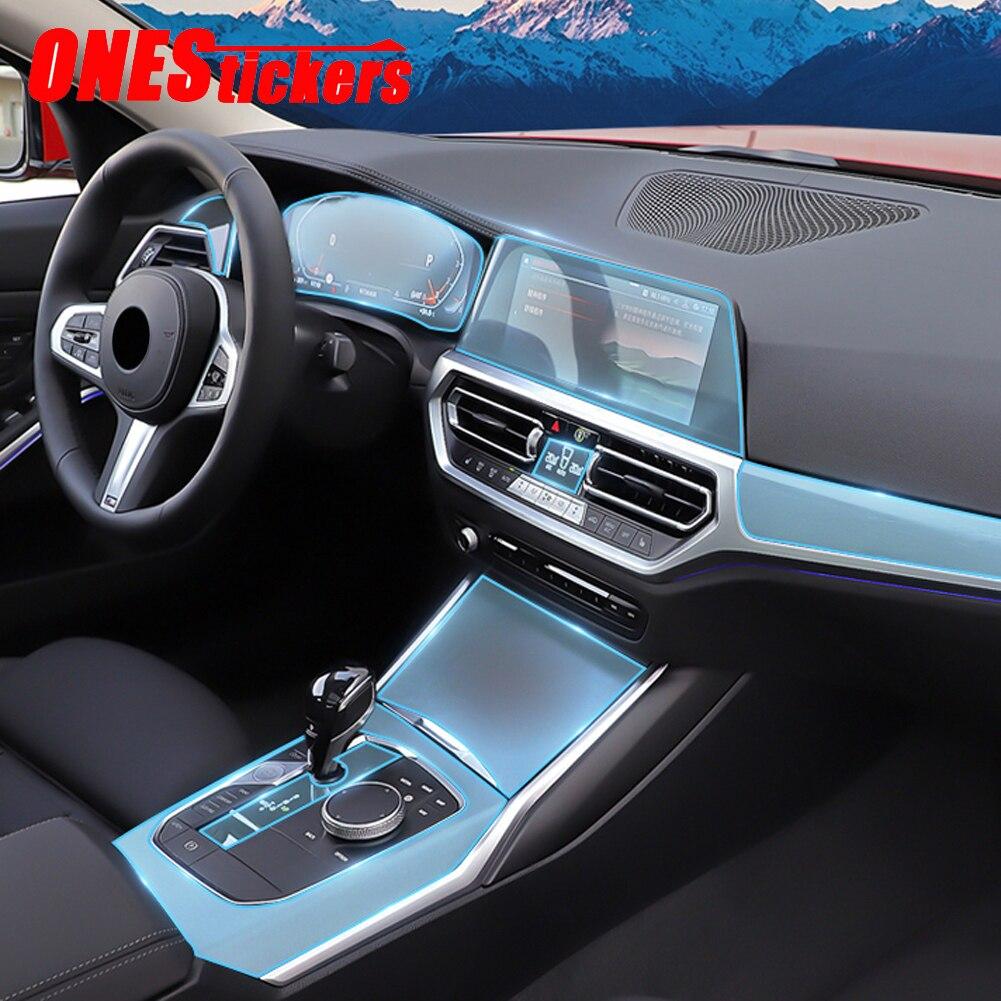 Acessórios do carro center console filme central instrumento de navegação tpu protetor filme para bmw série 3 g20 g28 325li 2019 2020