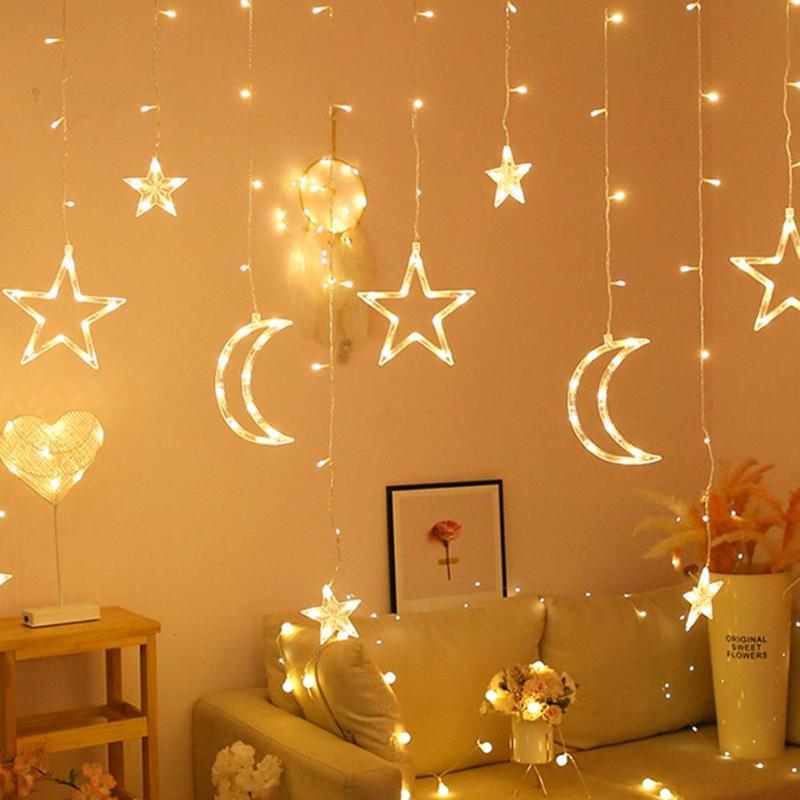 Moon Star LED Curtain Lamp Fairy String Neon Light Xmas Festival Wedding Bedroom Home Decor Holiday Lights 220v Fairy Light