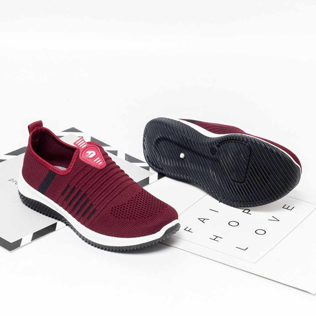 KANCOOLD 2019 Sonbahar Kadın Ayakkabı Nefes Örgü Sneakers Ayakkabı Bale Daireler Bayanlar Daireler Üzerinde Kayma loafer ayakkabılar Artı Boyutu