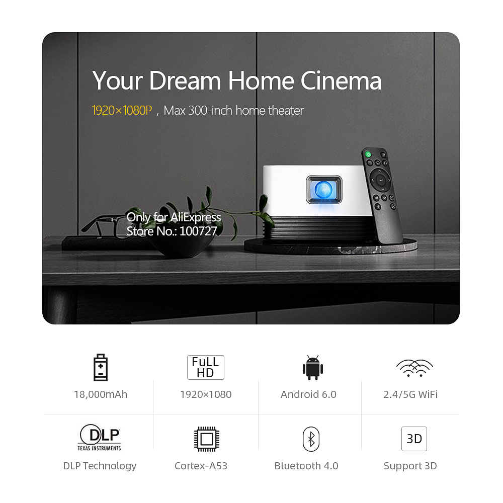 VIVIBRIGHT Full HD Projector J20, 1920*1080P, Android WIFI, 18000mAH Battery, Portable DLP Projector. Support 4K 3D Beamer 6