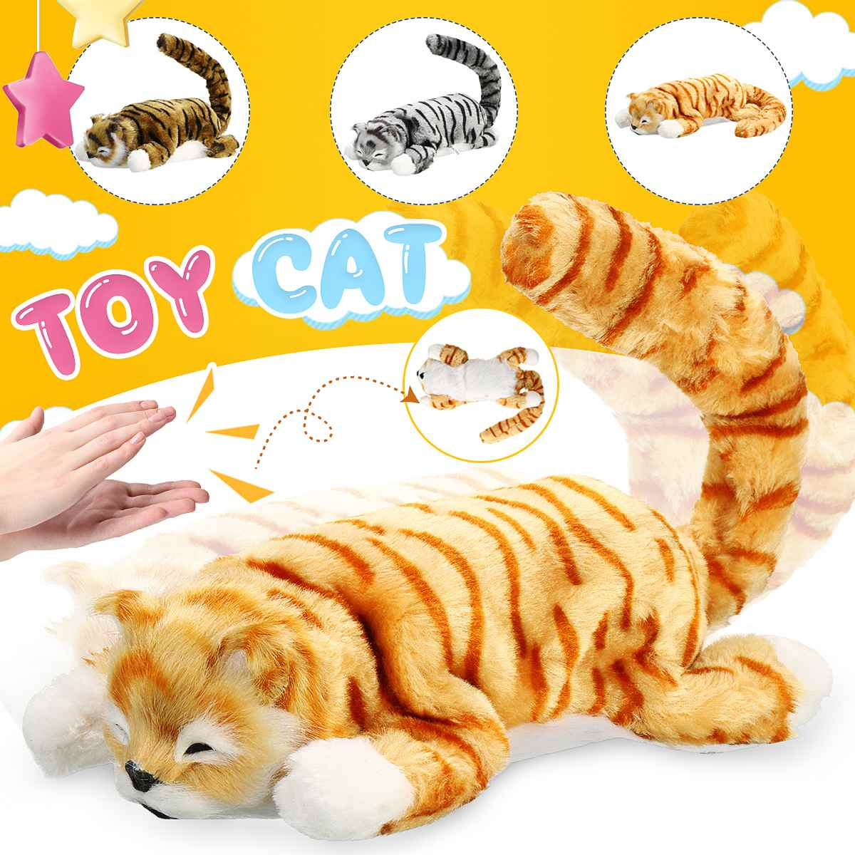 Electronic Robot Cat Sound Control Toys Kid Plush Electronic Toy Interactive Clap and Tail Swing for