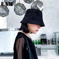 Женская комбинированная шляпа [EAM], черная плиссированная шляпа рыбака с Круглым Куполом, универсальная, весна-лето 2020 1U788