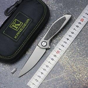Image 1 - カナダカスタムネオン CD NL フリッパー折りたたみナイフ titanium 合金 + CF ハンドル M390 刃アウトドアキャンプフルーツナイフ