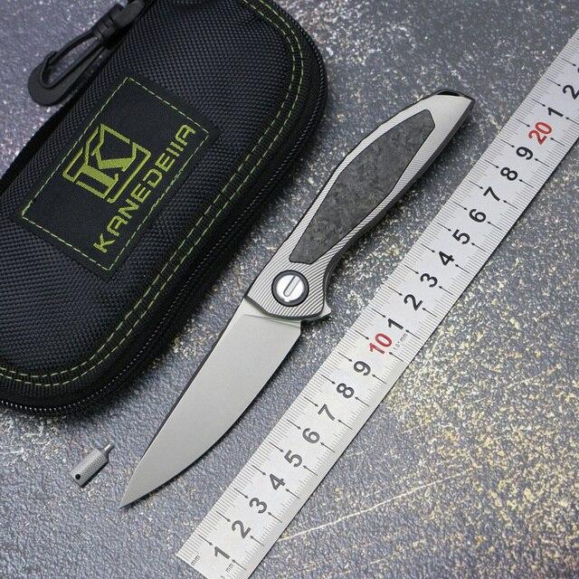 カナダカスタムネオン CD NL フリッパー折りたたみナイフ titanium 合金 + CF ハンドル M390 刃アウトドアキャンプフルーツナイフ