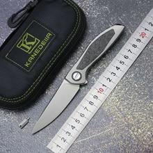 Canadian custom neon CD NL flipper folding knife titanium alloy+CF handle M390 blade outdoor camping hunting pocket fruit knives