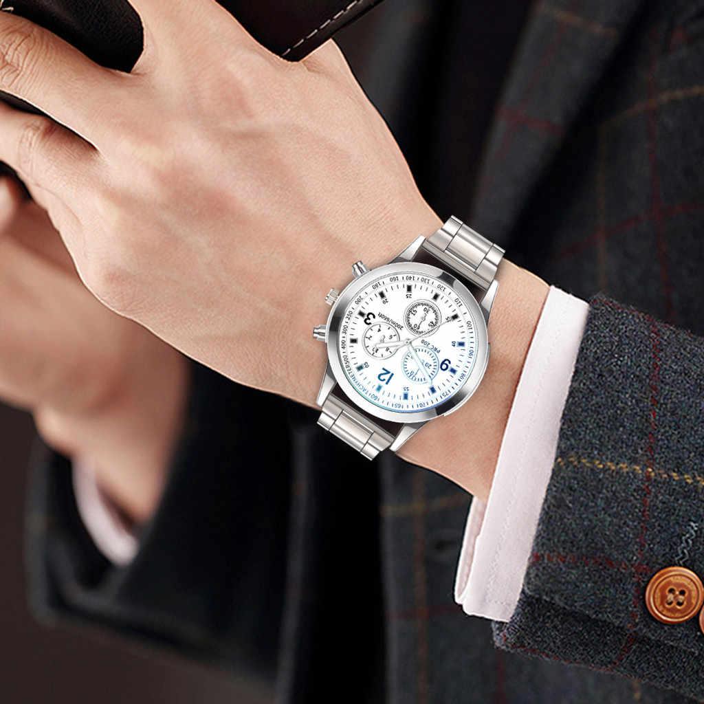 Lüks erkekler saatler moda quartz saat paslanmaz çelik Dial Casual bilezik izle reloj para homre שעון גבר reloj caballero # L0