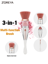 3 In 1 Cosmetic Brush With Replacement Head Cover Crystal Style Makeup Brushes Set Professional Makeup Brush Kit Tools недорого