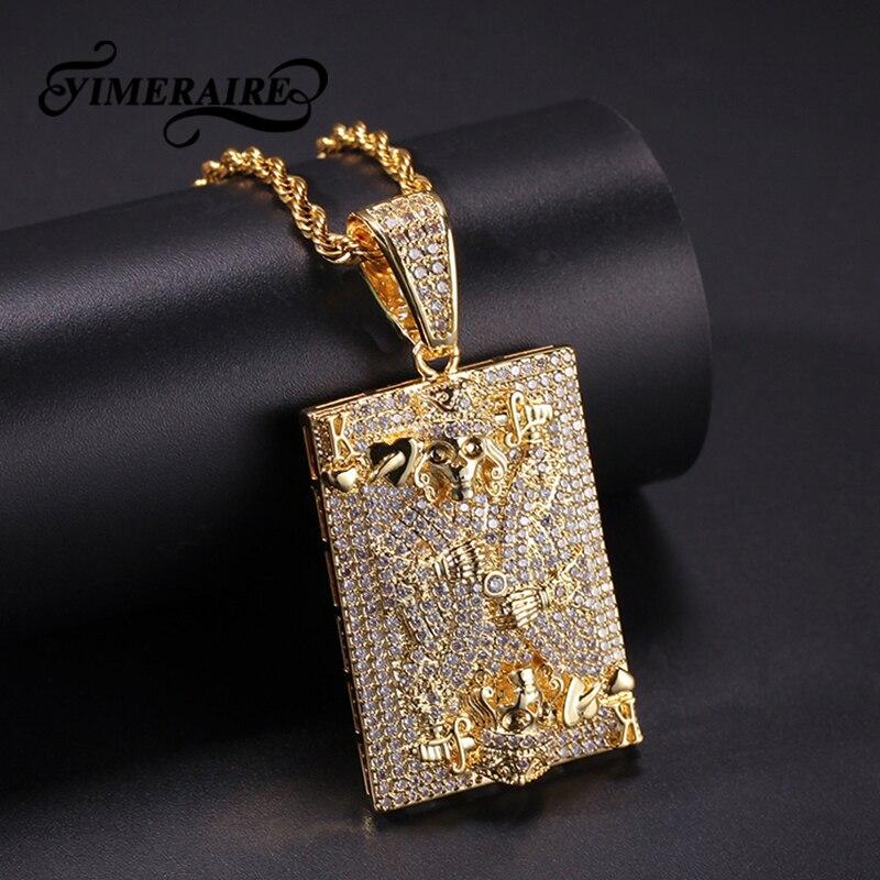 Collier pendentif glacé Cz tête de mort cartes à jouer Cz chaîne de Tennis couleur or argent Zircon collier bijoux Hip hop pour hommes