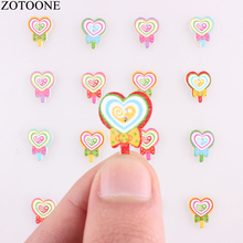 ZOTOONE 50PCS Color Heart Bow Buttons Natural Print Wooden Handmade Scrapbooking for Wedding DIY Craft Decoration Cute Button E