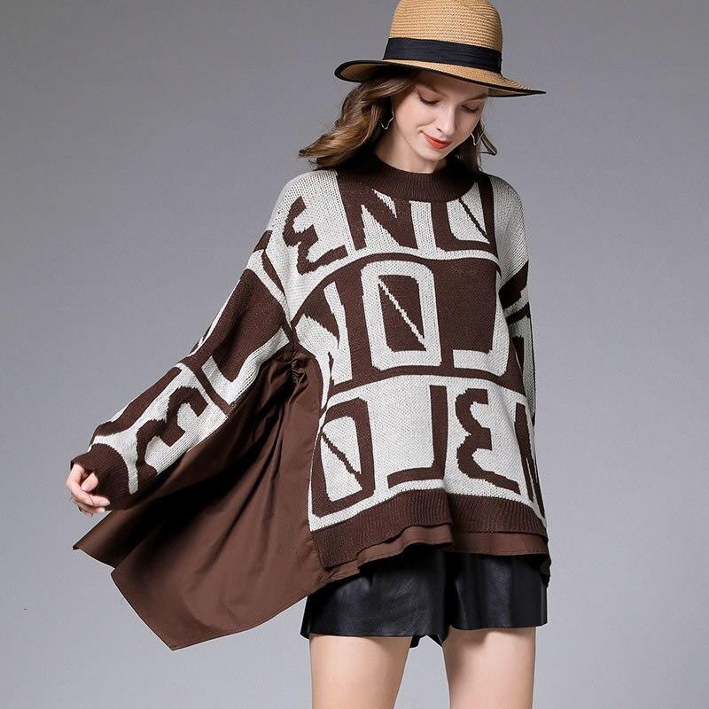 Mode grande taille faux deux pièces pull lettre motif pull femmes surdimensionné automne hiver vêtements femmes DMY1912