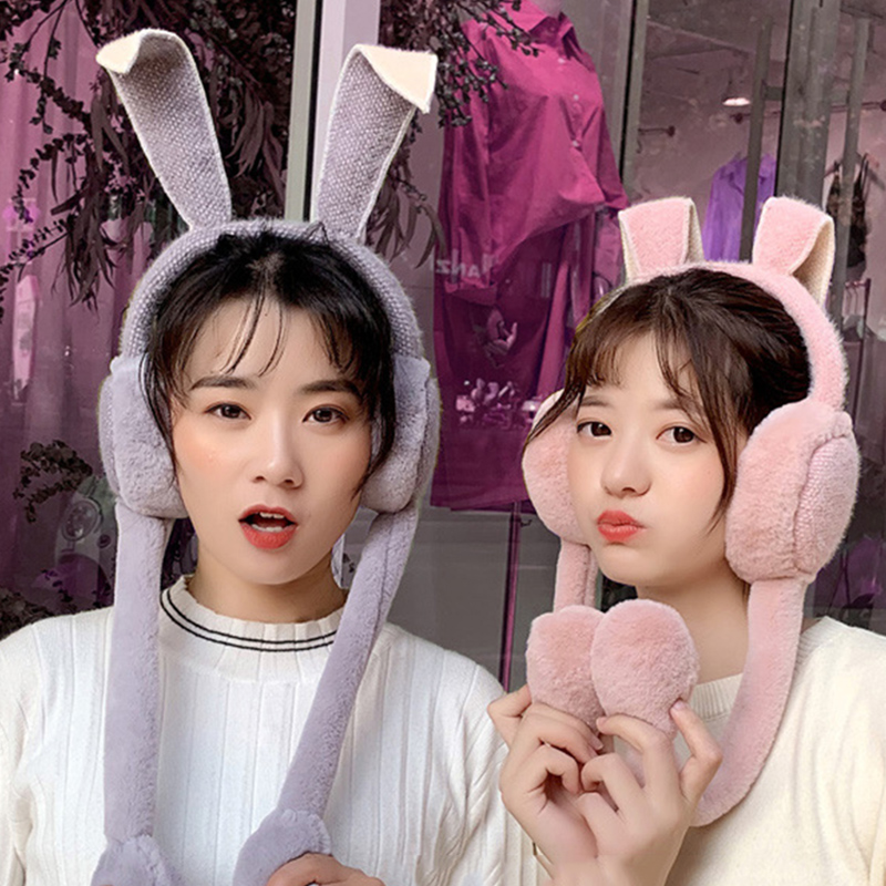 Hot Fashion Sweet Girl Cute Female Outdoor Cashmere Rabbit Ear Warm Earmuffs Autumn Winter Move Airbags Plush Dance Earmuffs