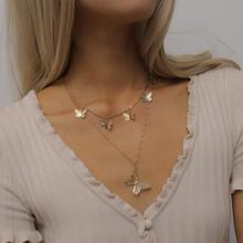 Fashion Vintage Gold Color Butterfly Clavicle Chain Choker Necklace for Women Layered Bohemian Collar Pendant Necklace Jewelry vintage bohemia gold coin letter layered chain necklace for women shell pearl moon long choker collar pendant butterfly necklace