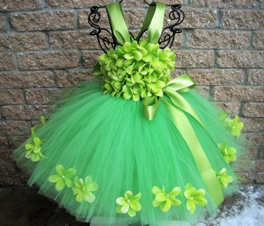 Платье-пачка с зелеными лепестками для девочек, детские цветочные ремешки, бальное платье с бантом из ленты, детское рождественское платье ...