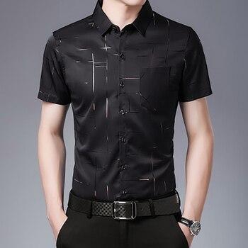 New summer mens Short Sleeve Shirt Mens middle age ice silk no iron shirt Lapel Plaid casual thin