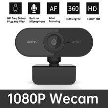 Webcam em 1080P Full HD 2 Mega web câmera com microfone USB Câmera Full HD 1080P câmera de Foco Automático para Computador Portátil PC Skype