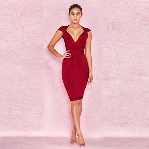Image 5 - 새로운 여름 여성 드레스 V 목 스트라이프 붕대 드레스 섹시한 Bodycon 우아한 연예인 파티 와인 레드 드레스 클럽 연회 Vestidos
