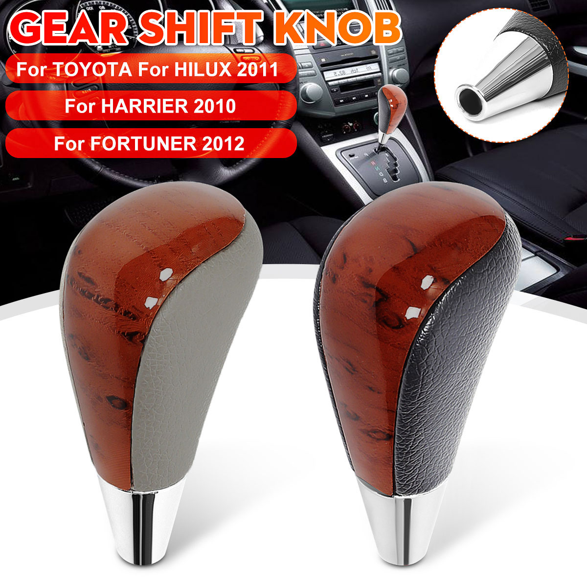Leather Car AT Gear Shift Knob Lever Shifter Stick For Toyota for Hilux 2011 onward For Harrier 2010 onward|Gear Shift Knob| |  - title=