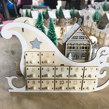 Advent-Calendar Christmas-Supplies Wooden Countdown with Led-Light Ornament Tree-House