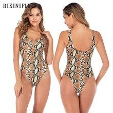 New Sexy Snakeskin Print Swimsuit Women One Piece Suit Wild Monokini S-L Girl Backless Bathing Padded Swimwear Beachwear
