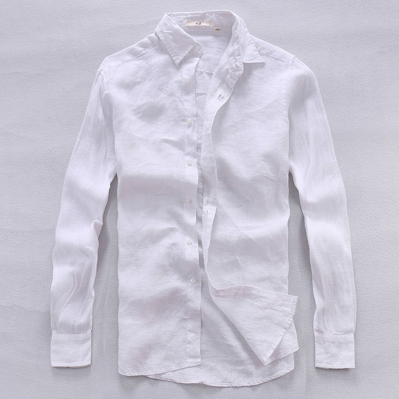 100%Linen Long Sleeve Shirt Autumn New Shirts Men Breathable Casual Classic Turn-down Collar Clothes Y1966