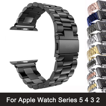 For Apple Watch Series 5 4 3 2 Band Strap 42mm 40mm 44mm Black Stainless Steel Bracelet Strap Adapter for iWatch Band 4 3 38mm bumvor for apple watch band 38 42mm black gold stainless steel bracelet buckle strap clip adapter for apple iwatch
