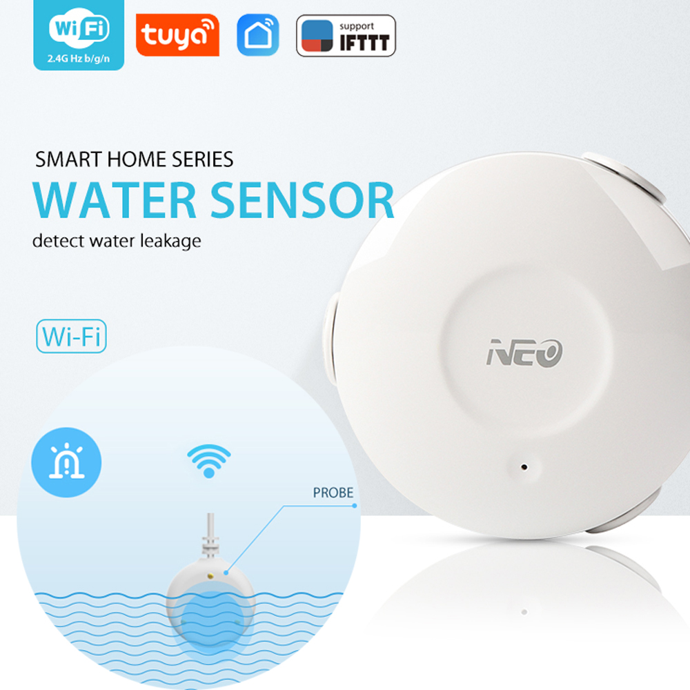 NEO COOLCAM WiFi Smart Water Sensor Water Flood Wi-Fi And Leak Detector Alarm Sensor And App Notification Alerts No Hub Operated