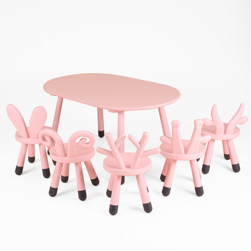 Girl'S Heart Series INS Northern European-Style CHILDREN'S Tables And Chairs Deer Lamb Bunny Calf Small Giraffe Ellipse Tables A