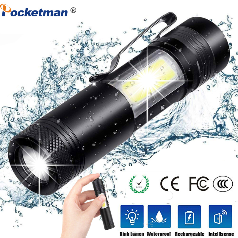 3800LM ZOOM Torch Mini Portable Working Emergency Lamp XML-Q5+COB LED Flashlight Zoom Penlight Use AA14500 Battery Waterproof