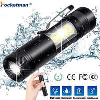 3800lm zoom tocha mini portátil trabalho lâmpada de emergência XML-Q5 + cob led lanterna zoom penlight uso aa14500 bateria à prova dwaterproof água