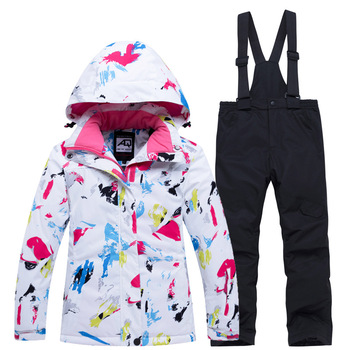 Kids Winter Skiing Suit Windproof Waterproof Warm Coat Jacket And Pants Overalls Sets For Girls 6 8 10 12 14 Year Snow Suits