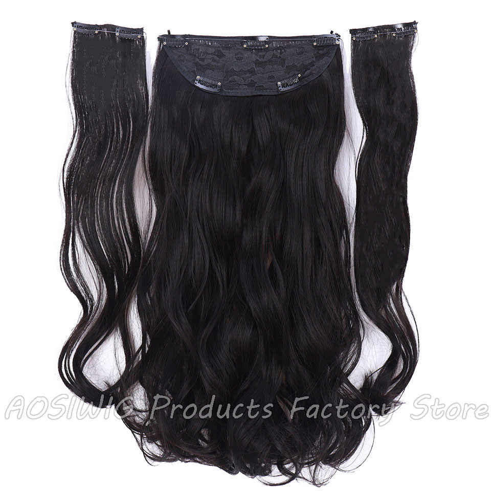 18 Inches Synthetic Long Flip in Hair Wavy Clip in Hair Extensions Natural Hair Pieces Black Fish Line Heat Resistant For Women